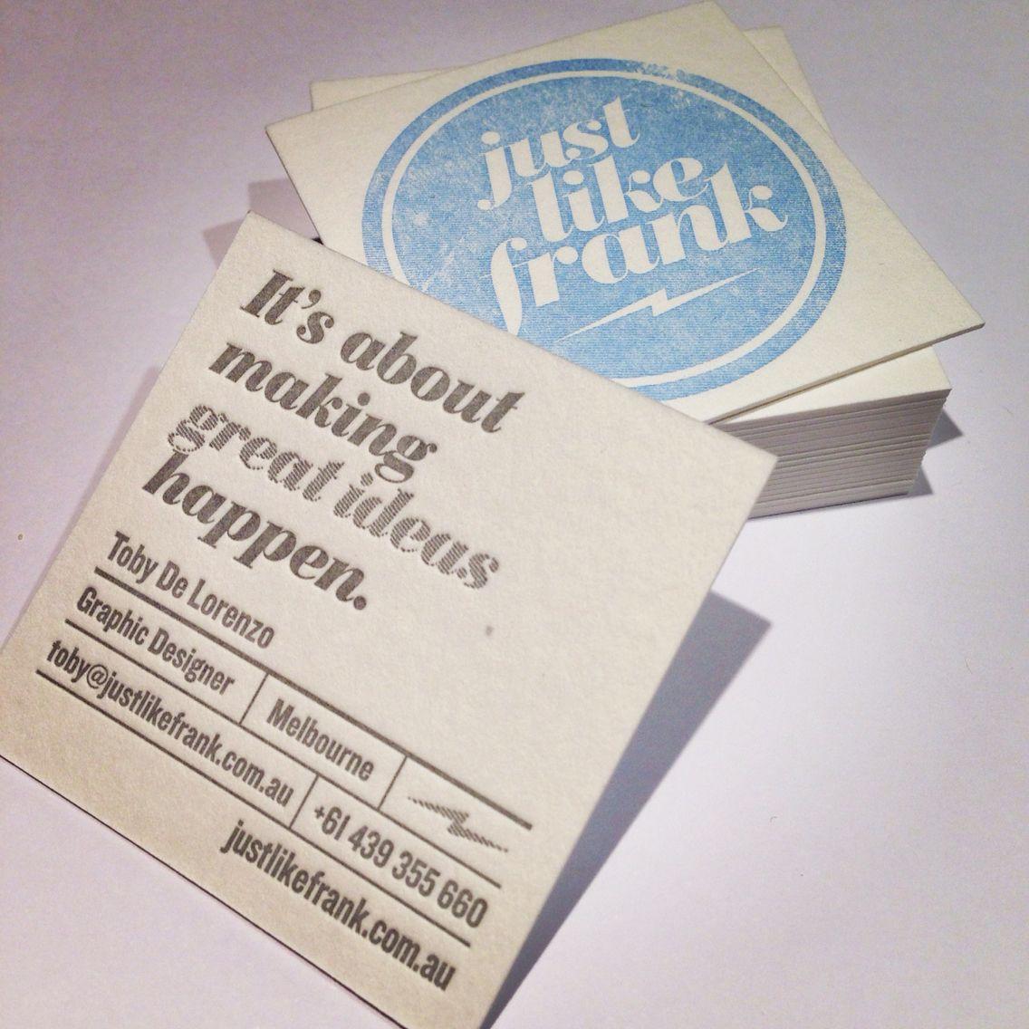 Just like frank letterpress business cards httpwww