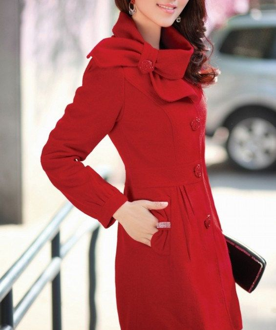 e46e4f2ea8a91 Red Single-breasted Winter Coat Woman coat  Woman Jacket Tunic  Long Jacket Short  Jacket  Long Sleeves Woman Tunic