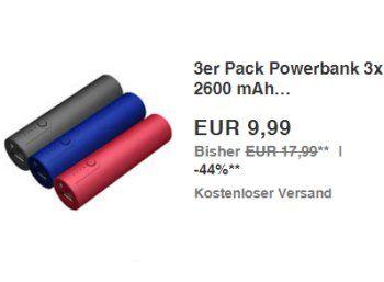 """Ebay: Dreierpack Powerbank Realpower PB 260 für 9,99 Euro frei Haus https://www.discountfan.de/artikel/technik_und_haushalt/ebay-dreierpack-powerbank-realpower-pb-260-fuer-999-euro-frei-haus.php Zum Schnäppchenpreis von 9,99 Euro mit Versand ist bei Ebay als """"Wow! des Tages"""" ein Dreierpack Realpower PB 260 Powerbank-Akkus mit 2600 mAh im Angebot – pro Energiespeicher zahlt man somit gerade einmal 3,33 Euro. Ebay: Dreierpack Powerbank Realpower PB 260 fü"""