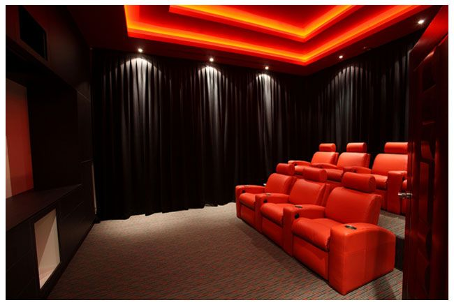 Wow This Incredible Home Cinema Uses Red Led Light Strips Home Theater Room Design Home Theater Room Design