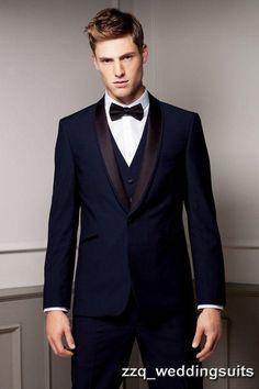Hombres de los trajes del mantón de la solapa del esmoquin azul marino  trajes de boda para hombre trajes padrinos de boda del mens un botón 3  unidades ... 22302a7b650d