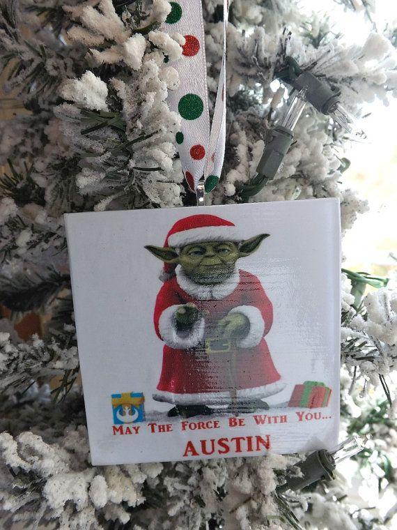Yoda Star Wars Personalized Christmas Ornament Santa by ThinkGeekz