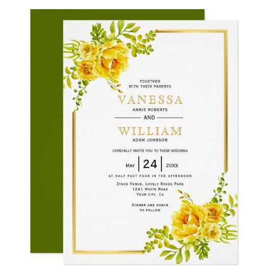 Yellow watercolor flowers and gold frame wedding invitation #invitation #wedding #floral #watercolor #yellow