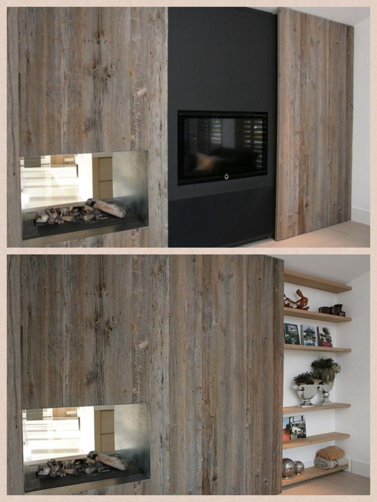 Schuifwand   Woonkamer   Pinterest   Double sided fireplace, DIY ...