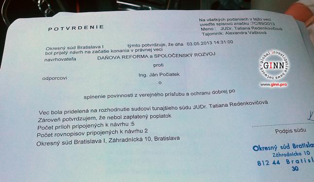 Minister Ján Počiatek verejný test odmieta. Podali sme žalobu! | Ginn Ako sme podali žalobu na Ministra Jána Počiatka. Žiadame verejný test a odvolanie nepravdivých výrokov, že drogy nikdy neužíval. Tu je text žaloby, video zo súdu a zvuková nahrávka z interview aké sme poskytli pre rádio.  http://www.ginn.pro/news/jan-pociatek-drogy-zaloba