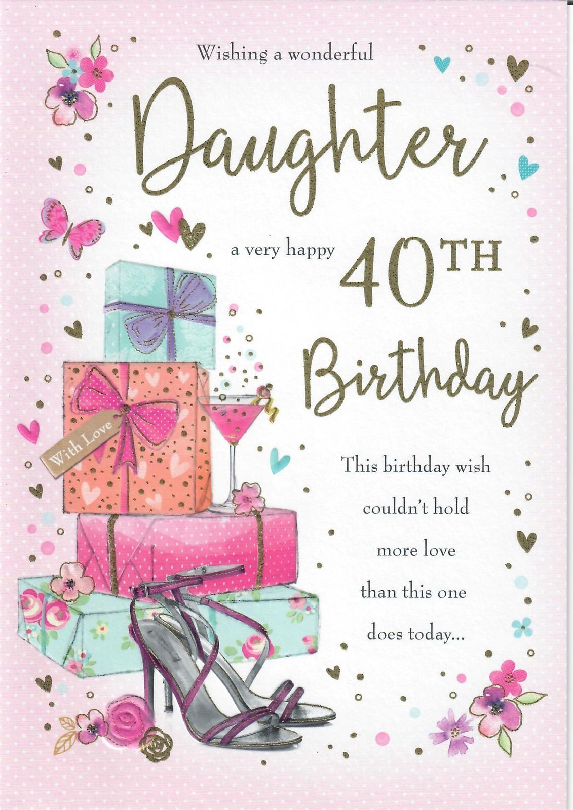 Large Beautifully Worded Wishing A Wonderful Daughter A Very Happy