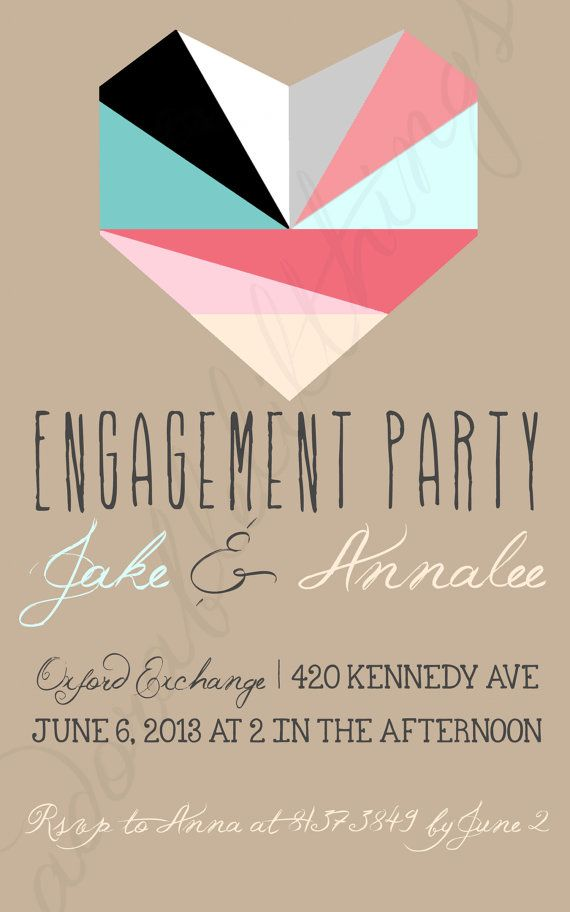 Hipster Heart Engagement Party Invitation by adorablelilthings ...