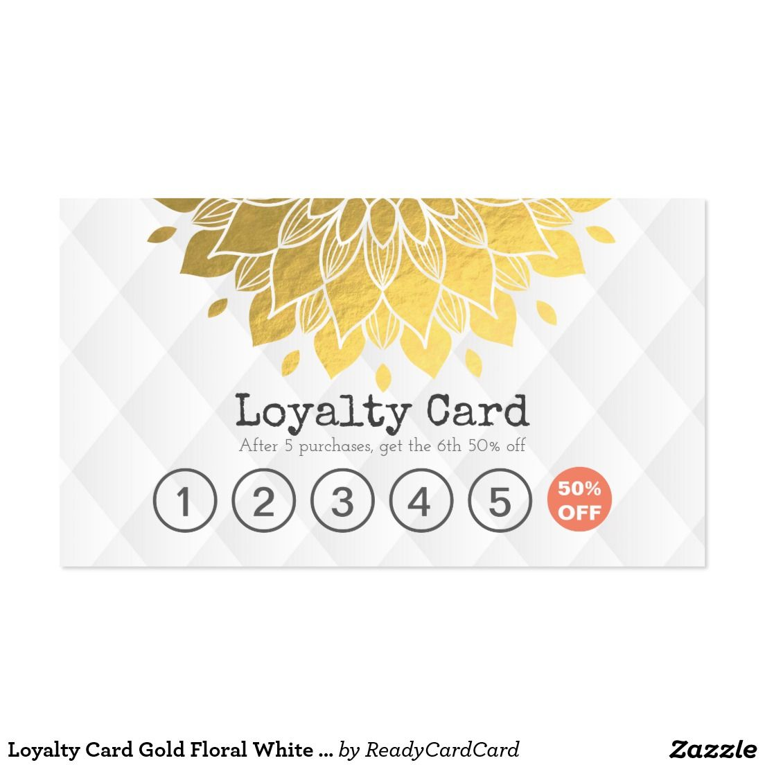 Loyalty Card Gold Floral White Leather Hair Makeup | MODERN CUSTOM ...