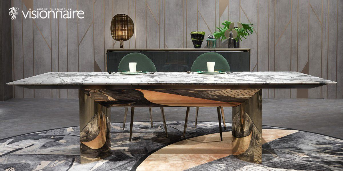 Italian Designer Kerwan Dining Table With Marble Top High End