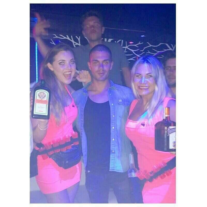 Well @MaxGeorge was definitely having a great time with the girls last night! #Shots #Marbs2015