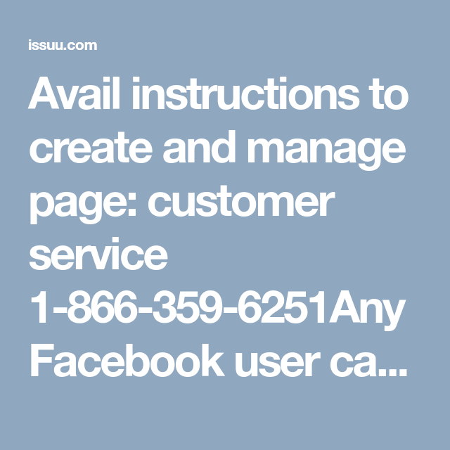 Avail Instructions To Create And Manage Page Facebook Customer