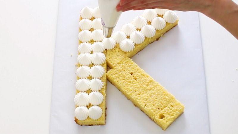 Floral Initial Cake (Cream Tart Style) - I Scream for Buttercream