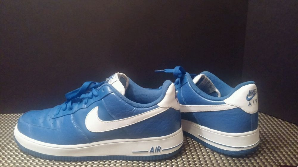 30.00 New Nike Air Force 1 Royal Blue Leather Reptile Skin 2011 Beautiful!  Size 10.5