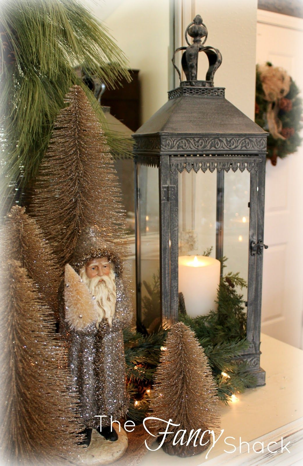 Shown as a Christmas display but lantern can be decorated to fit any time of the year ~The Fancy Shack