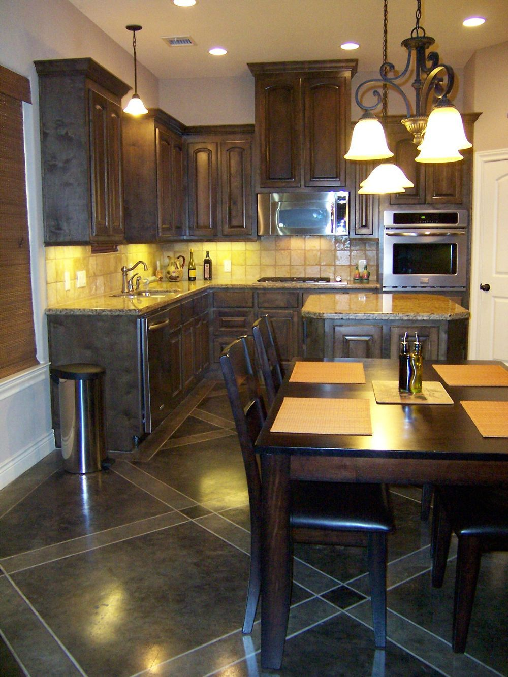 Concrete Floors In Kitchen Wood Kitchen Cabinets Stained Concrete Floors Acid Stained