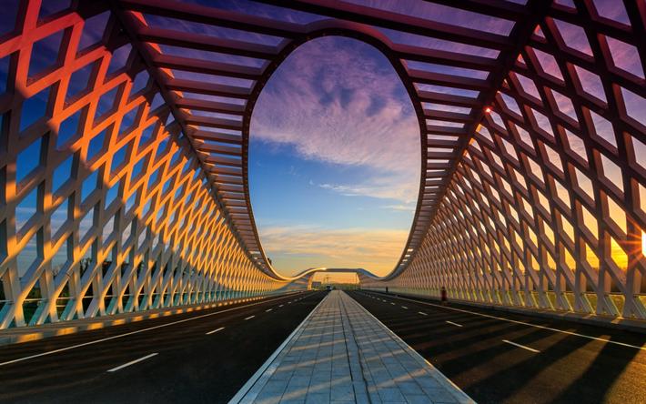 Download wallpapers Beiqijia Bridge, Asia, modern
