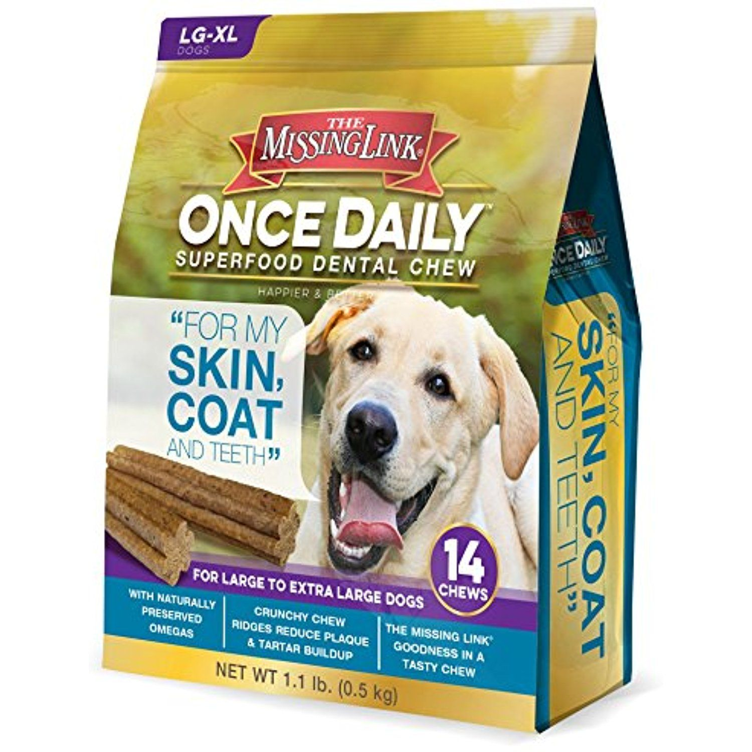 The Missing Link Once Daily Skin Coat Superfood Dental Chew Large Dog 14 Ct For You To View Further For This Item Visit Dog Chews Dental Happy Dental