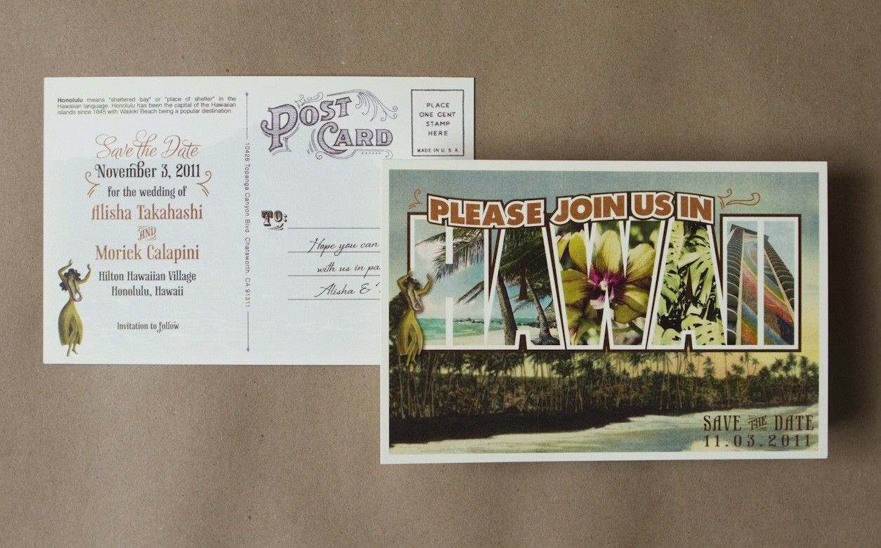 Vintage Large Letter Postcard Save the Date (Hawaii