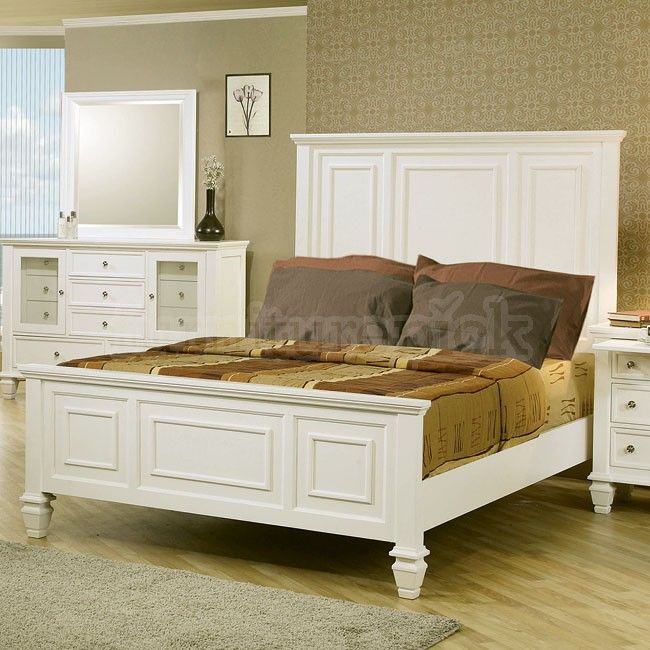 Sandy Beach Panel Bed (White)