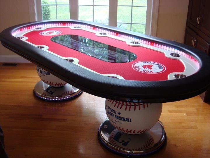 Www Luxurygaminginc Com Redsox Table We Designed Built For The Josh Beckett Bowl Custom Poker Tables Poker Table Poker