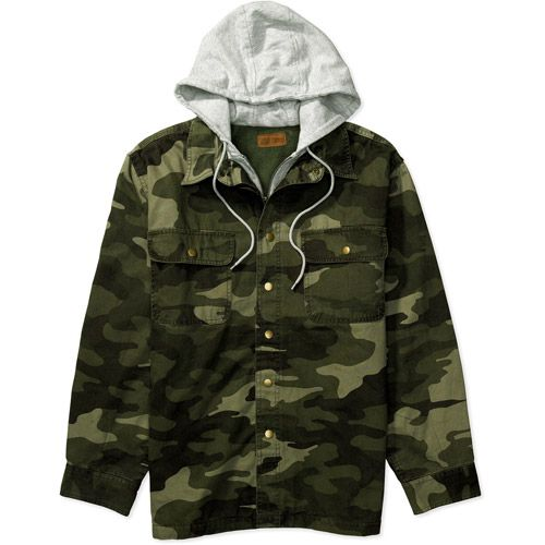 Faded Glory - Big Men's Hooded Flannel Zip Camo Shirt Jacket