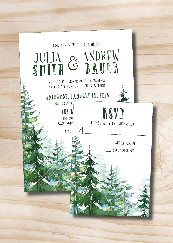 Watercolor Pine Tree Wedding Invitation