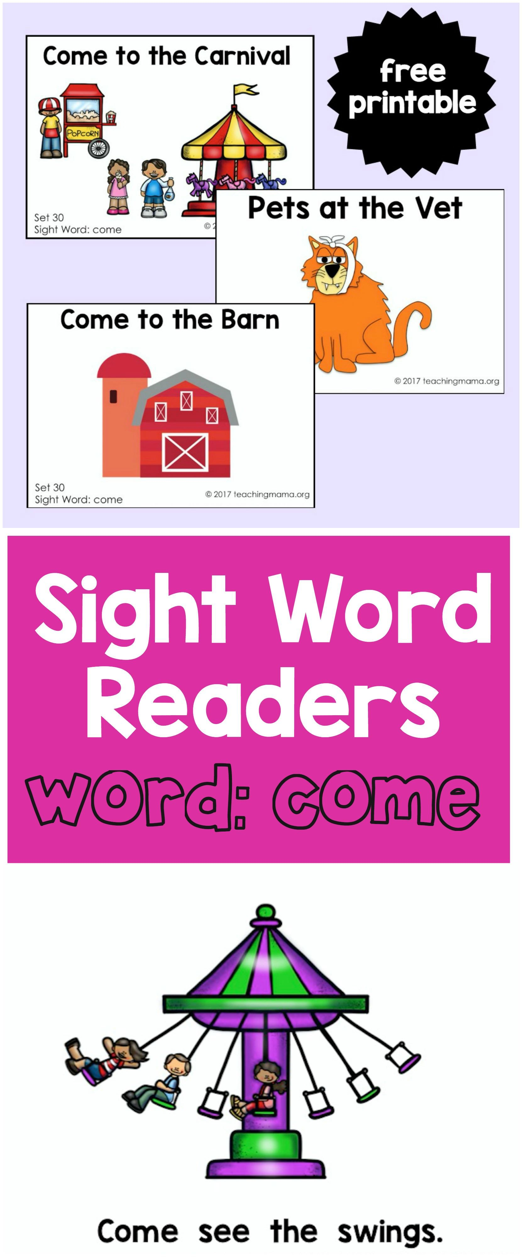Sight Word Readers For The Word Come