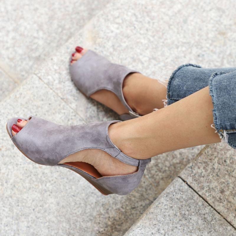 3c816873bd5d Large Size Ankle Strap Peep Toe Wedge Sandals