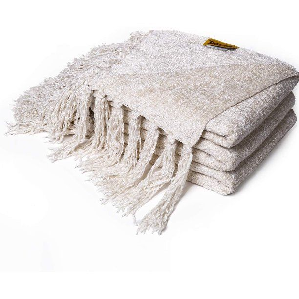 Fluffy Chenille Knitted Throw Blanket Ivory Throw Blanket Knit Throw Blanket Knitted Throws Chenille throws for sofas