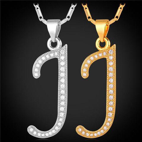 f1b86bf3c79 U7 Alphabet Initial J Letter Pendant Charm 18K Gold/Platinum Plated ...