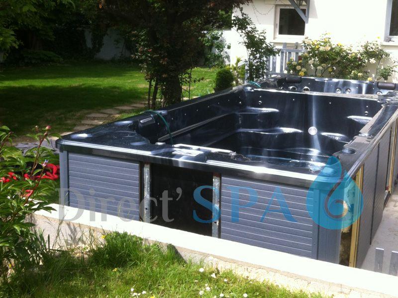 Installation D Un Spa De Nage Bi Zone Semi Enterre Spa De Nage Spa Piscine