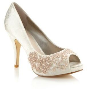 Gold metallic beaded peep toe court shoes Debut £37