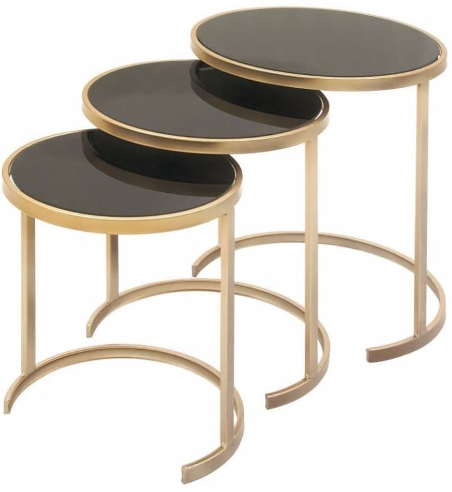 3 Pack Contemporary Black Gold Metal Glass Accent Tables Living Room  Furniture