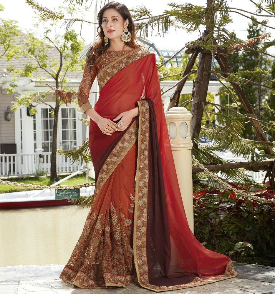 ETHNIC DESIGNER SAREE BOLLYWOOD PARTY WEARS SARI INDIAN TRADITIONAL BRIDAL SARI
