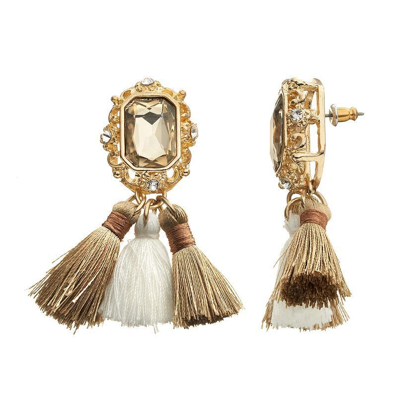 GS by gemma simone Nouveau Baroque Tapestry Tassel Drop Earrings, Women's, multicolor