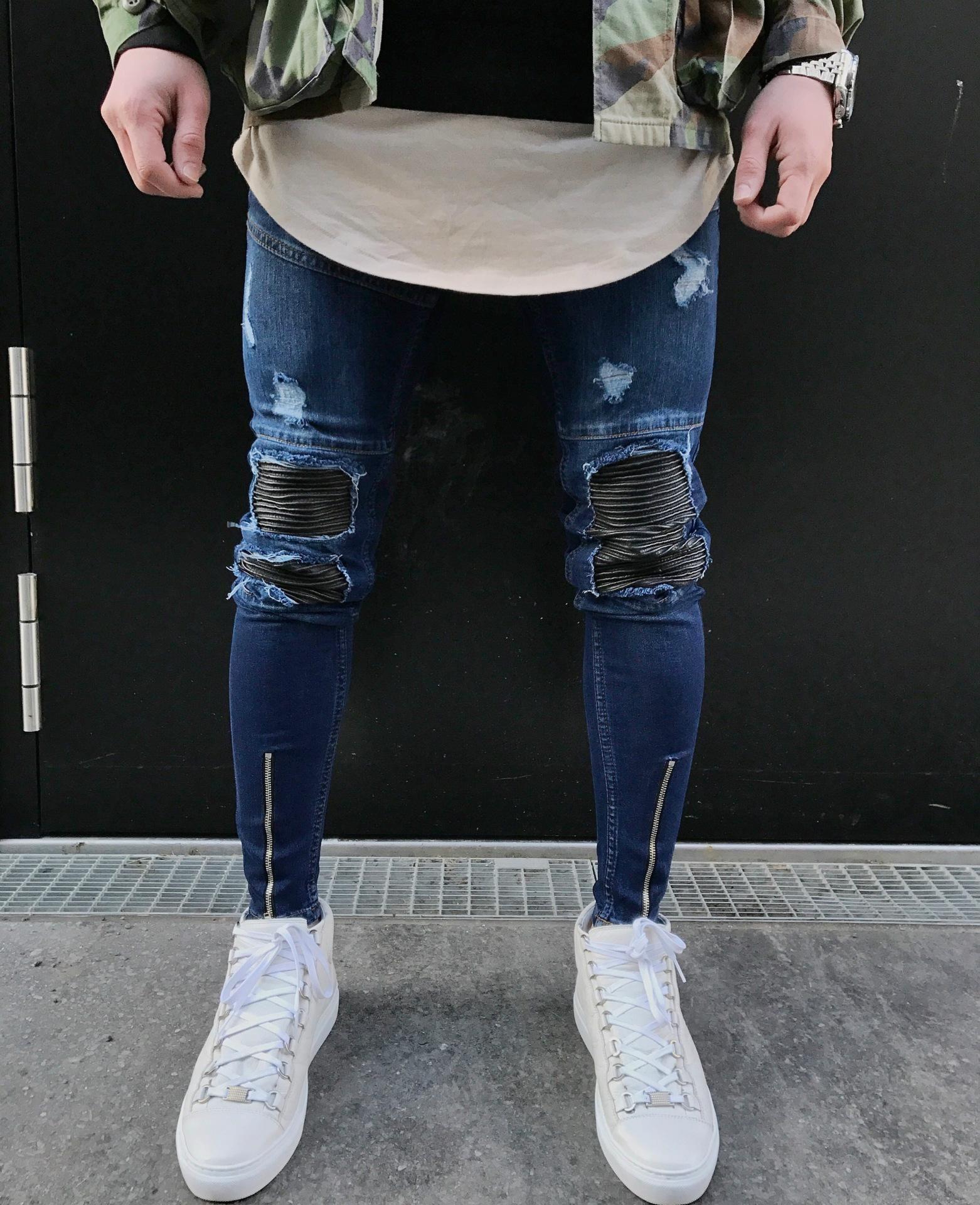 Pantalones Elasticos Para Motocicleta Con Agujeros Para Hombre Pantalones Ajustados De Mezclilla Azul Moda Hombre Ropa Casual Hombres Jeans De Moda