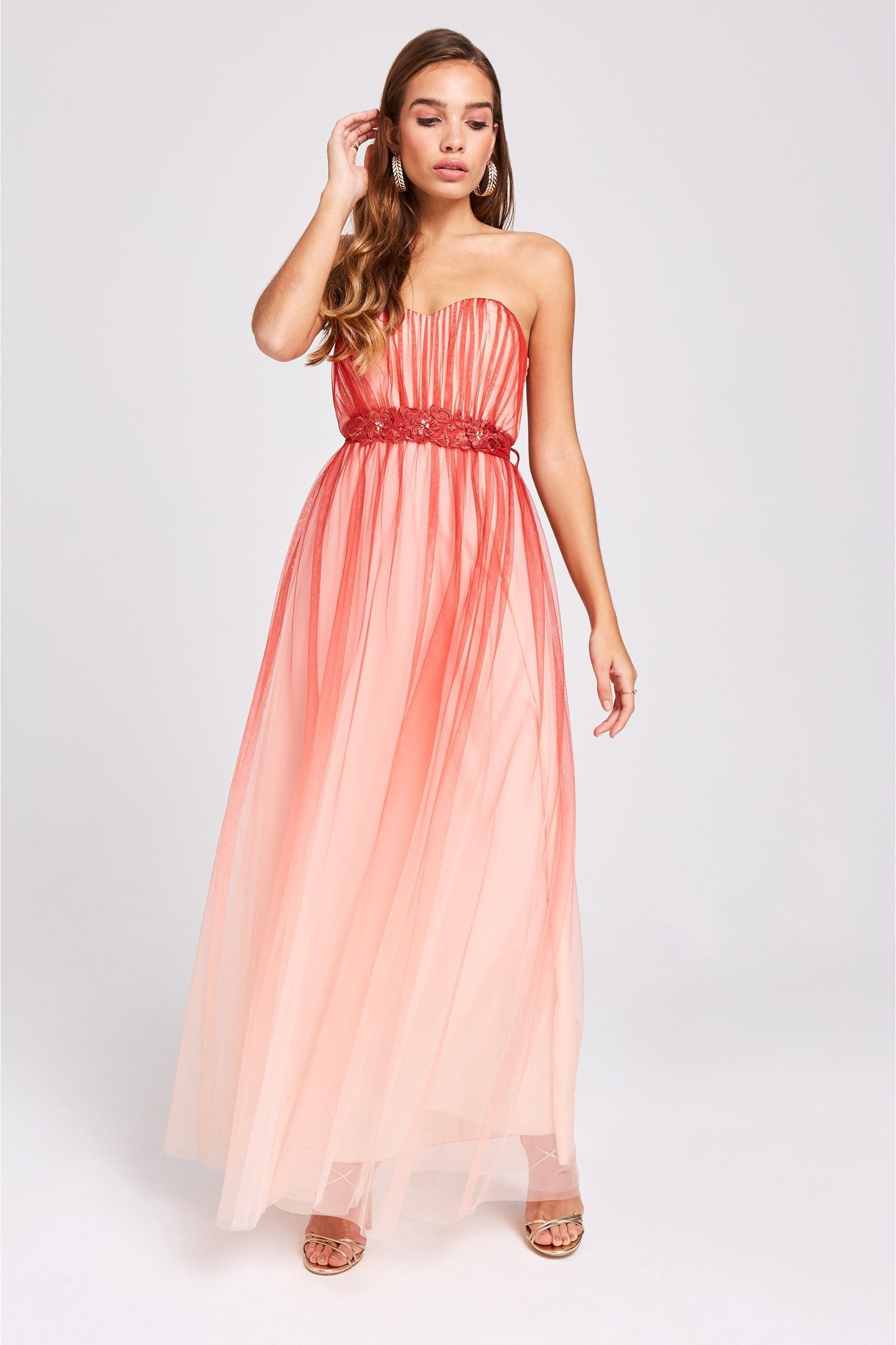 Womens Little Mistress Ombre Tulle Bandeau Maxi Dress Red