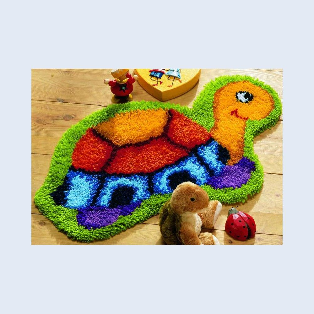 Latch hook happy turtle latch hook rug vervaco for Alfombras de esmirna