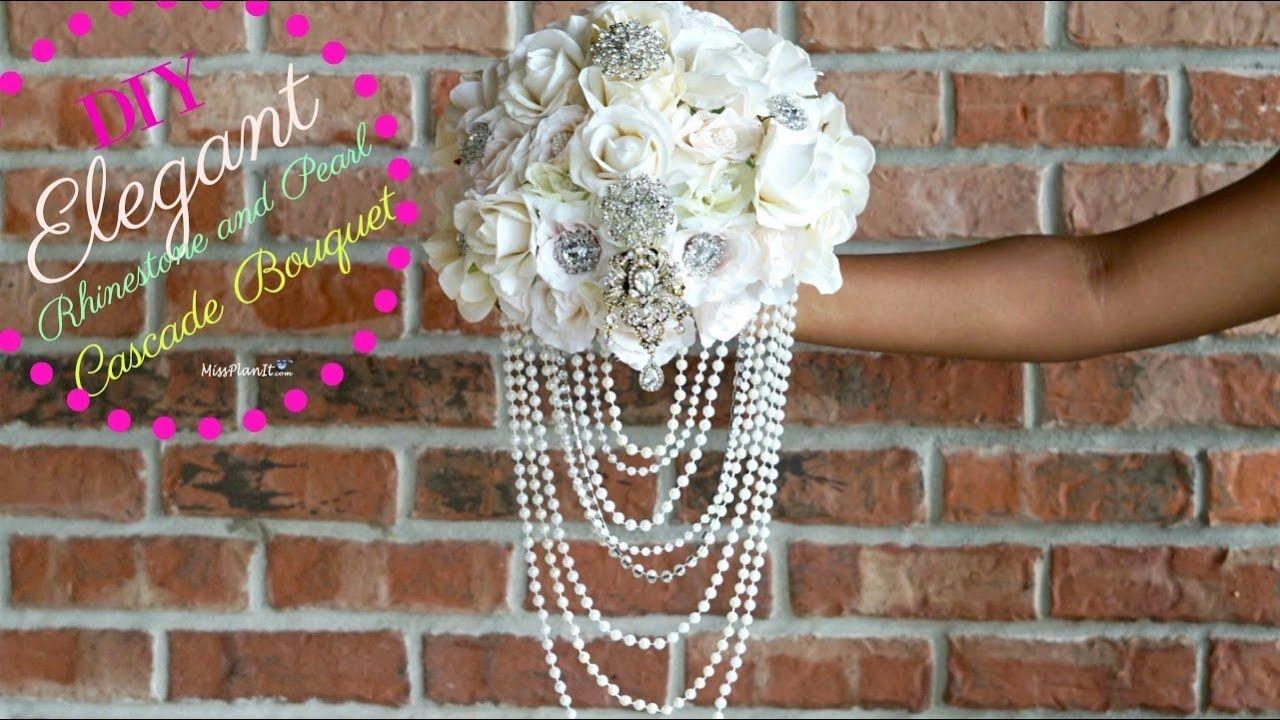 DIY Elegant Rhinestone and Pearl Cascade Bridal Bouquet