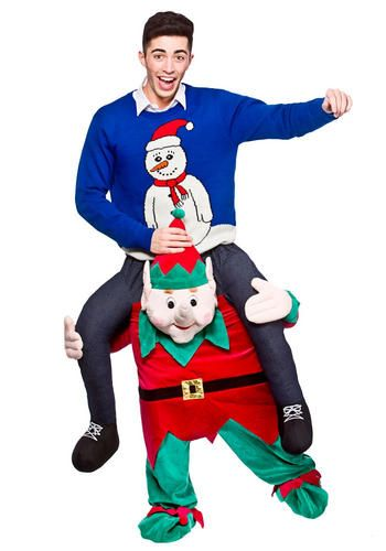Biggyback Elf Costume Christmas Novelty Fancy Dress Outfit Ride On Mascot