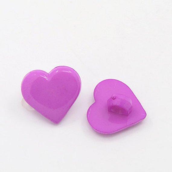 Heart Buttons SALE (B113) 25 Violet Purple 12mm Hearts
