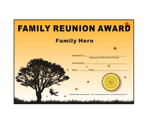 family hero award down south theme free family reunion certificate template family reunion hut reunion basics