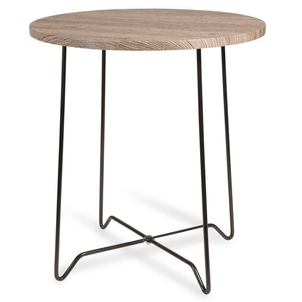 Bout de canapé coloris bois et métal noir AVOLA | table and chair ...