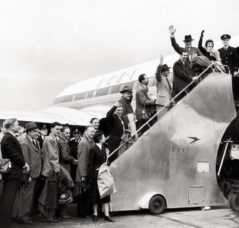 Passengers are seen at London's airport boarding a BOAC de Havilland Comet jet, the first ever jet airliner, for the inaugural flight bound for Johannesburg on May 2, 1952.