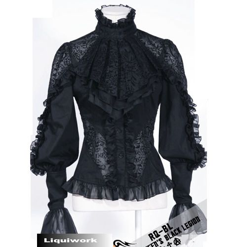 Women Black Lace Long Sleeve Victorian Gothic Dress Shirts Blouses ...