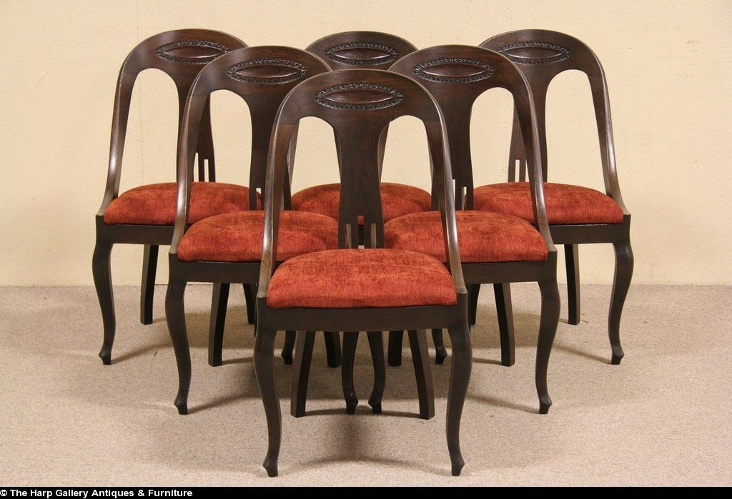 Set of 6 Carved Oak Empire 1900 Scandinavian Dining Chairs & Set of 6 Carved Oak Empire 1900 Scandinavian Dining Chairs | Empire ...