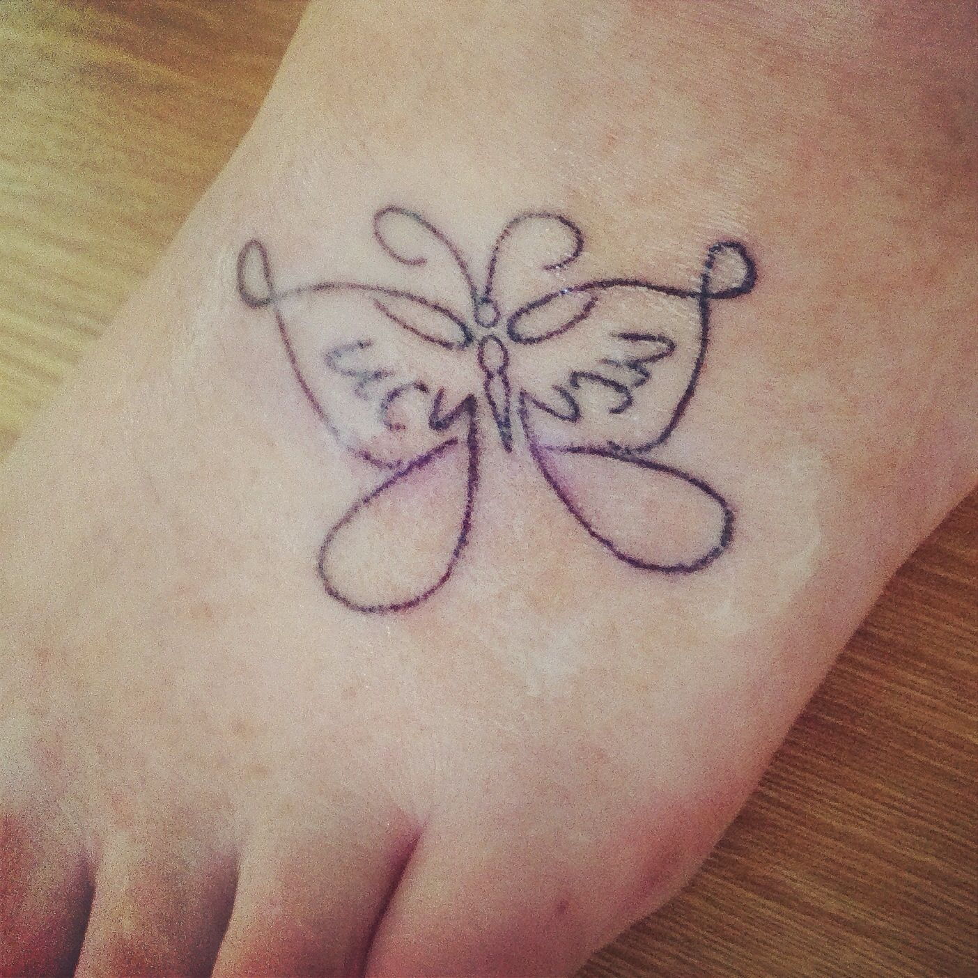 The o jays butterfly tattoos and clothes on pinterest - Butterfly Tattoo With The Name Lucy My Daughter