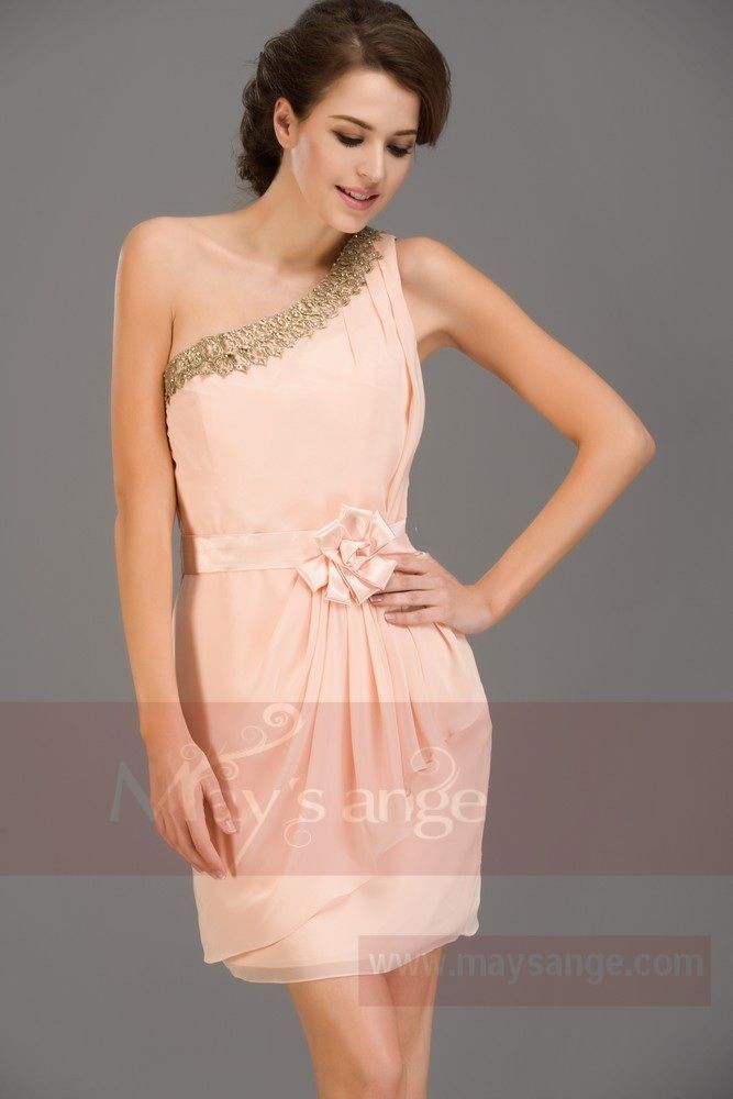 Robe simple bretelle C658 couleur saumon nude 2014