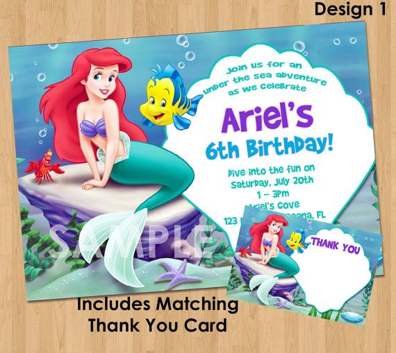 Little mermaid invitation thank you note printable princess little mermaid invitation thank you note printable princess ariel birthday party invite custom personalized digital card 4x6 or 5x7 filmwisefo