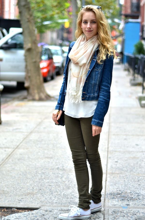 8c7ab4a9d4 White Top + Jean Jacket + Olive Green Pants + White Converse    Katie s  Bliss